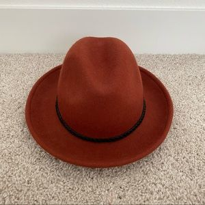 Burnt Orange Fedora Hat with black braid detail